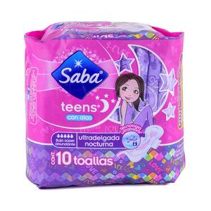 Toallas Ultradelgada Nocturna con Alas SABA Teens x 10