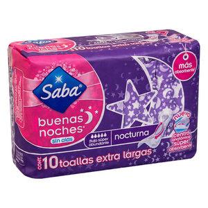 Toallas femeninas SABA Buenas noches x 10