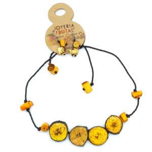 Juego de collar y aretes Amarillo - Tajadas de Banano