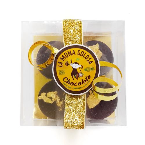 Bombón de chocolate relleno, con láminas de oro 24 kt - La Mona Golosa