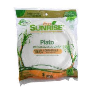 Plato #9 100% compostable - EcoSunrise x 10 unid