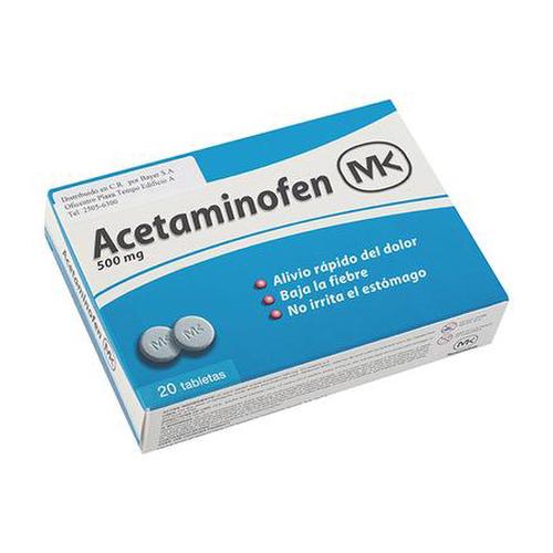 Acetaminofen MK 500 mg 20 tabletas