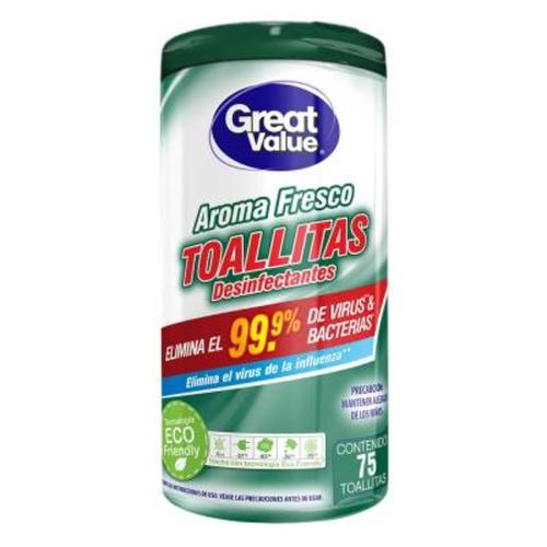 Toallitas desinfectantes Aroma Fresco - Great Value - 75 unid