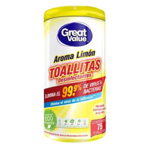 Toallitas desinfectantes Aroma Limón - Great Value - 75 unid