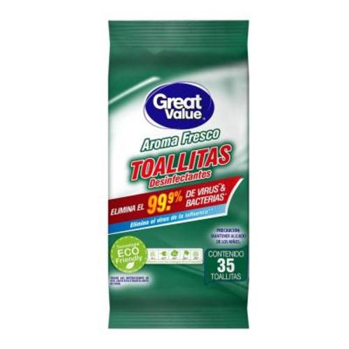 Toallitas desinfectantes - Great Value- 35 unid